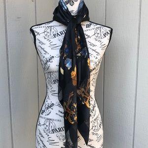 Black, blue & gold silk scarf